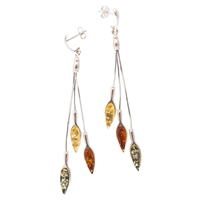 Be Jewelled Sterling Silver Multicoloured Amber Drop Earrings