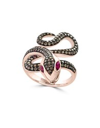 Effy Genuine Espresso Diamond Ruby And 14K Rose Gold Snake Ring