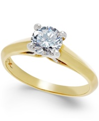 X3 Certified Diamond Engagement Ring 3 4 Ct. T.W. In 18K Yellow And White Gold No Color