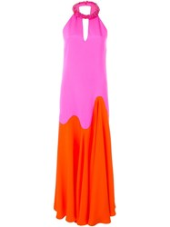 Emilio Pucci Beaded Collar Evening Dress Pink And Purple