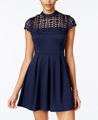 Sequin Hearts Juniors' Crochet Trim Fit And Flare Dress Navy