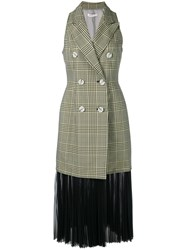 Adeam Check Double Breasted Dress Green