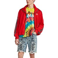 Amiri Leather Trimmed Tech Jersey Track Jacket Red