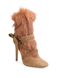 Gianvito Rossi Shearling Fur And Suede Booties Praline Black
