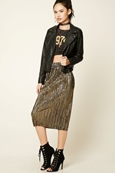 Forever 21 Metallic Accordion Midi Skirt Gold