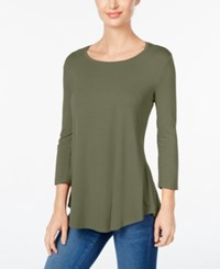 Jm Collection Petite Three Quarter Sleeve Top Created For Macy's Olive Sprig