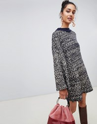 Lost Ink Jumper Dress In Contrast Chunky Knit Navy