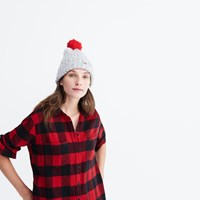 Madewell Flannel Oversized Ex Boyfriend Shirt In Buffalo Check Red Sangria