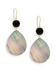 Ippolita Rock Candy Onyx Black Shell And 18K Yellow Gold Teardrop Earrings