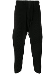 Homme Plisse Issey Miyake Pleated Drop Crotch Trousers Black