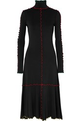 Proenza Schouler Ruffle Trimmed Stretch Knit Midi Dress Black