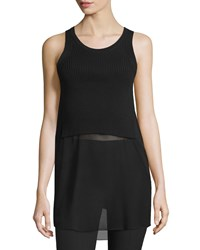 Alexander Wang Ribbed Knit Georgette Combo Racerback Tank Black