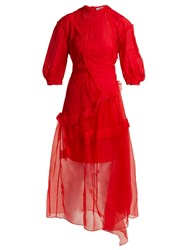 Preen Risse Pleated Panel Silk Dress Red