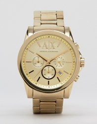 Armani Exchange Ax2099 Chronograph Gold Stainless Steel Strap Watch Gold