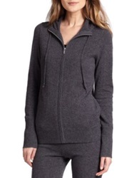 Saks Fifth Avenue Cashmere Hoodie Taupe Black Charcoal Grey