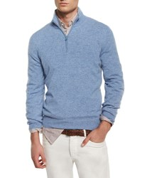 Brunello Cucinelli Cashmere Quarter Zip Pullover Sweater Light Blue Cl545
