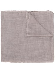 Eleventy Classic Knitted Scarf Modal Cashmere Grey