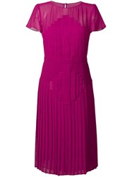 Capucci Pleated Flared Midi Dress Pink And Purple