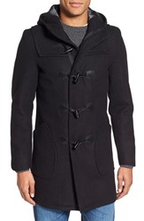 Men's Schott Nyc Satin Lined Wool Blend Duffle Coat Black