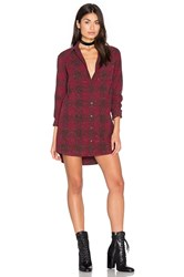 Obey Bex Shirt Dress Burgundy