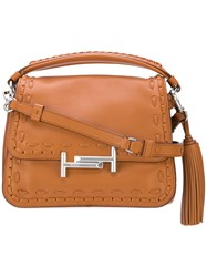 Tod's Tassel Detail Tote Women Calf Leather One Size Brown