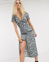 Motel Button Front Midi Dress In Ditsy Floral Navy