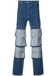 Y Project Panel Straight Leg Jeans Blue