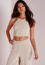Missguided Necklace Ribbed Crop Top Taupe