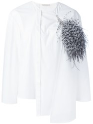 Christopher Kane Layered Long Sleeve Shirt Women Cotton Feather 44 White
