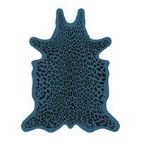 Podevache Leopard Collection Vinyl Floor Mat Blue