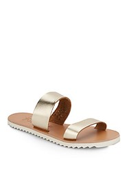 Joie A La Plage Avalon Metallic Leather Double Strap Slides Gold