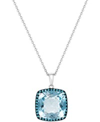 Macy's Blue Topaz 12 Ct. T.W. And Swarovski Zirconia Accent Pendant Necklace In Sterling Silver