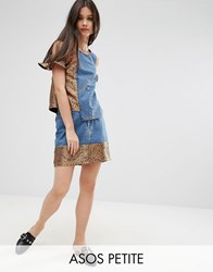 Asos Petite Denim Mini Skirt With Jacquard Hem Co Ord Mid Wash Blue