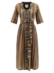 Ace And Jig Leelee Belted Striped Cotton Midi Dress Black Multi