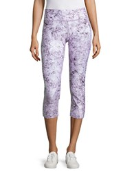 Calvin Klein Abstract Printed Shimmer Cropped Leggings Purple