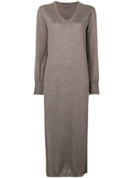Eleventy Loose Fitted Dress Brown