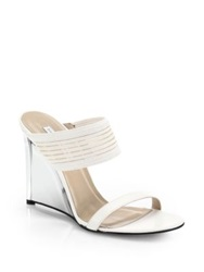 Diane Von Furstenberg Valencia Leather Wedge Sandals Black