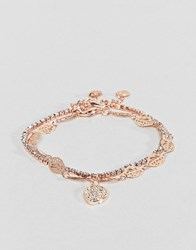 Aldo Gold Multi Layer Feather Detail Bracelet Clear On Gold