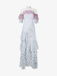 Peter Pilotto Embroidered Floral Print Silk Gown White Multi Coloured Blue