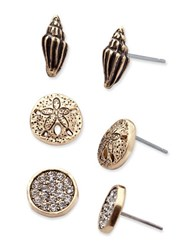 Lonna And Lilly Shell Stud Earrings Set Of 3 Pairs Gold