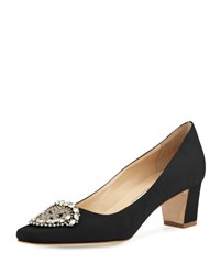 Manolo Blahnik Okkato Low Heel Crepe Pump Black