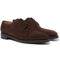 John Lobb Cap Toe Suede Derby Shoes Dark Brown