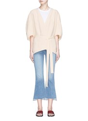 Bassike Belted Split Back Cady Crepe Cropped Trench Jacket White