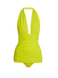 Norma Kamali Bill Halter Swimsuit Yellow
