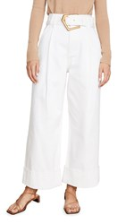 Edition10 Belted Wide Trousers White Denim