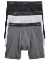 Jockey Men's 3 Pack Staycool Cotton Boxer Briefs Grey Assorted