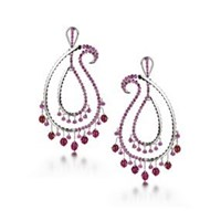 Madhuri Parson Rubies Paisley Chandelier Earrings Red