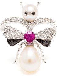 Yvonne Leon Yvonne Leon Gold Diamond And Ruby Bee Ring White
