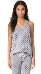 Monrow Polka Hearts Oversized Narrow Tank Granite