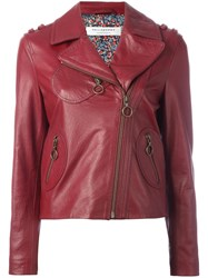 Philosophy Di Lorenzo Serafini Zipped Biker Jacket Red